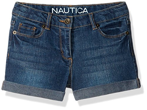 Nautica Little Girls' Denim Shorts, Medium Wash, 5