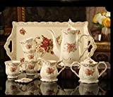 DHG European-Style Coffee Set Home with Ceramic Tray British Afternoon Tea Coffee Set Coffee Cup Set to Send Coffee Spoon,A