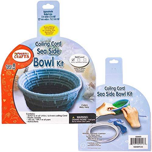 Seaside Bowl 1/4 Inch (6.35 mm) Coiling Cord Basketry Kit - 25 Feet (7.6 Meters) in Length, 120 Yards (109.7 Meters) of Acrylic Yarn, Plastic Needle