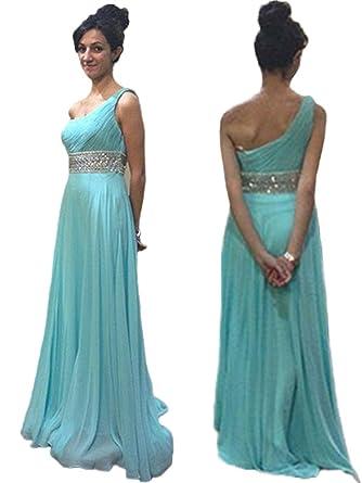Baijinbai Mint Blue Chiffon One Shoulder A-Line Prom Dresses Long Bridesmaid Dresses Mint Blue