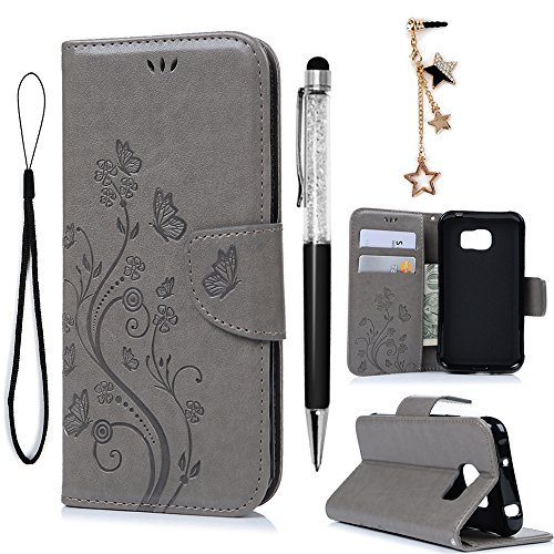 finest selection a24ca b50a5 Galaxy S7 Active Case, Galaxy S7 Active Wallet Case (Not Galaxy S7), PU  Leather Embossed Flower Kickstand Flip Case Card Slots Wrist Strap  Protective ...