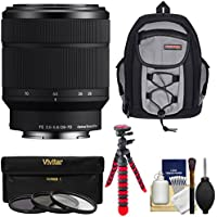 Sony Alpha E-Mount FE 28-70mm f/3.5-5.6 OSS Zoom Lens with Sling Backpack + 3 Filters + Tripod + Kit for A7, A7R, A7S Mark II Cameras