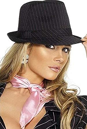 a402ecdc574 Ladies Fever Gangster Bugsy Malone Black Pink Pinstripe Trilby Fancy Dress  Hat  Amazon.co.uk  Clothing