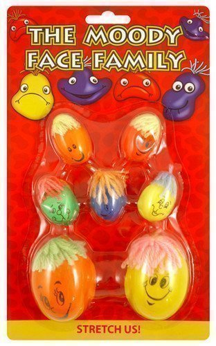 - Henbrandt 7 Kids Childrens Moody Face Family Stretchy Squashy Stress Balls Party Bag Toys