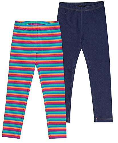 Kirkland Signature Girls' 2-pack Legging, Multi and Blue (7/8) (Twill Signature Stretch Pants)