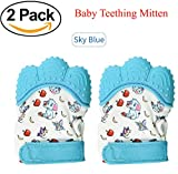 O'zone Baby Teething Mittens - Teething Mitten Provides Soothing Pain Relief Babies, Infants Toddler - Safe BPA-Free Baby Teething - Effective Anti-Scratch 3 to 12 Month Old Baby (Blue)