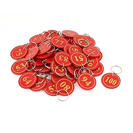 Amazon.com : eDealMax plástico del supermercado Stock Maleta de Split Key Ring etiquetas de la etiqueta 50pcs Rojas : Office Products
