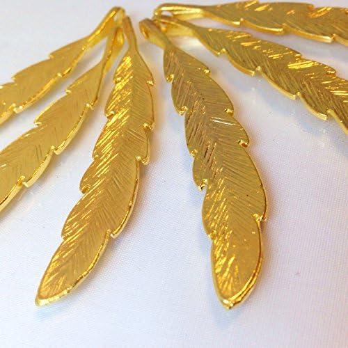 大きな羽 ゴールド(2個)チャーム アクセサリーパーツ ハンドメイド 手芸材料