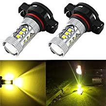 Alla Lighting High Power 3030 SMD New Version Xtremely Super Bright 2504 PSX24W Gold Yellow LED Bulbs for Fog Light Lamps Replacement