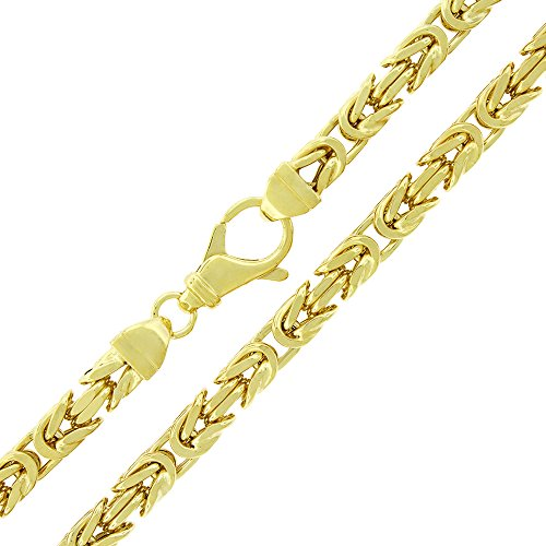 "Sterling Silver 6mm Hollow Byzantine Box Link - 18K Yellow Gold Plated - Light-Weight 925 Necklace Chain - 24"" - 30"" (30)"