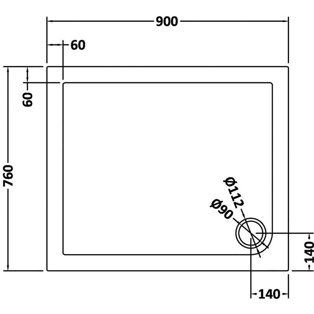 SIRHONA Receveur de douche extra plat 70x0x4 cm bac a douche rectangulaire blanc