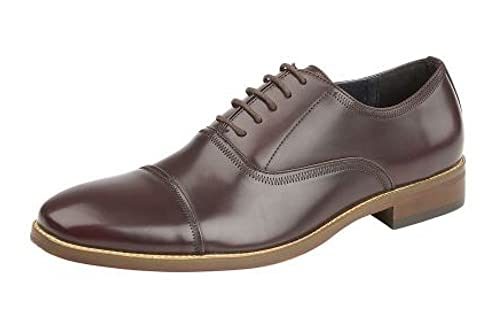 Goor FRANCIS Boys Formal Leather Lined Lace Up Brogue Oxford Shoes In Oxblood