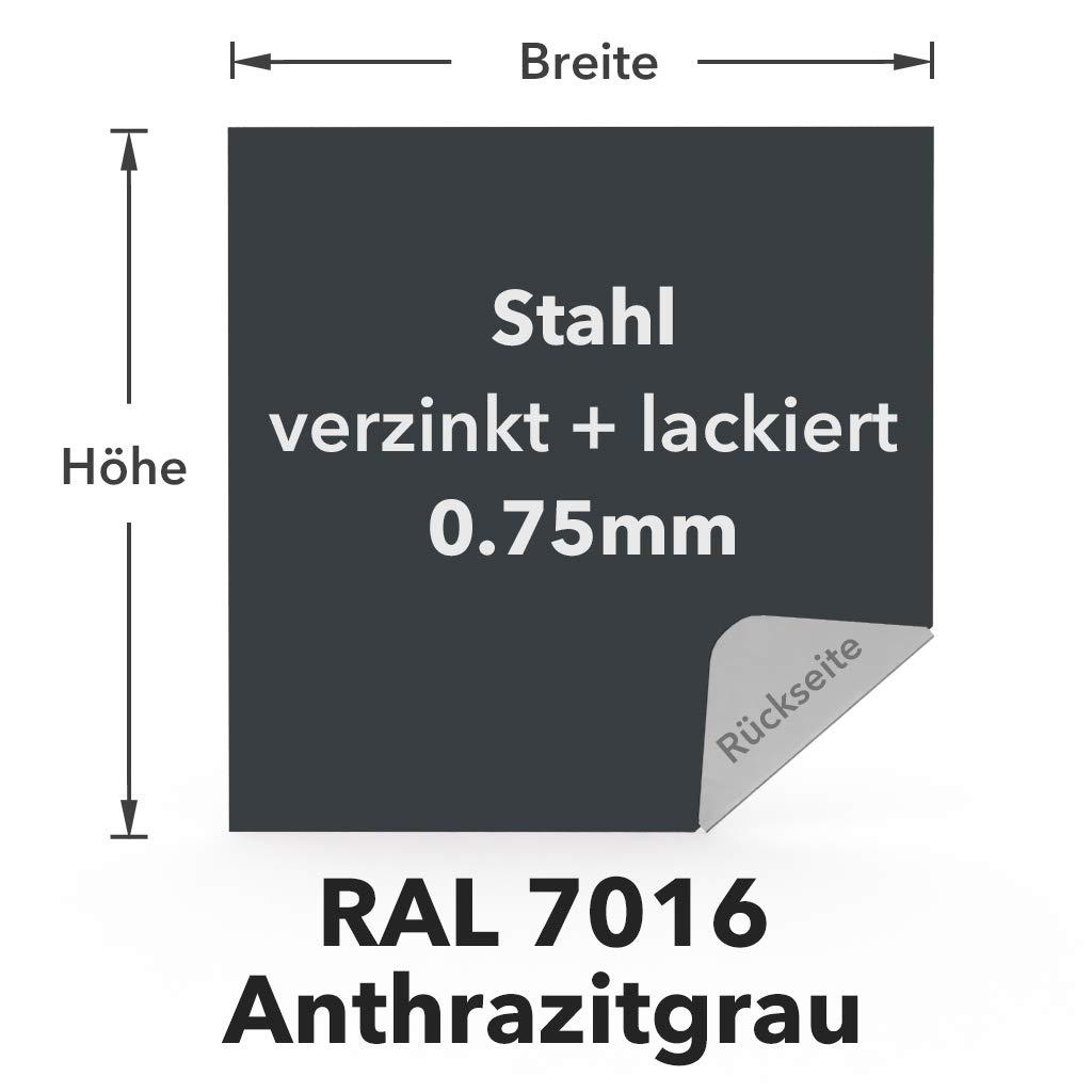 grigio antracite 10 x 10 cm su un lato con pellicola protettiva. RAL 7016 100 x 100 mm . Tagli in lamiera di acciaio zincato 0,75 mm rivestito in colore RAL 1
