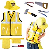 iPlay, iLearn Construction Worker Costume Role Play Kit Set, Engineering Dress Up Gift Educational Toy for Halloween Activities Holidays Christmas for 3, 4, 5, 6, 7 Year Old Kids Toddlers Boys