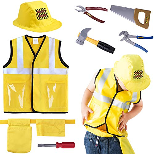 Costume For Family Of 3 (iPlay, iLearn Construction Worker Costume Role Play Kit Set, Engineering Dress Up Gift Educational Toy for Halloween Activities Holidays Christmas for 3, 4, 5, 6, 7 Year Old Kids Toddlers)