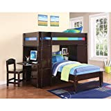 ACME Furniture 37495 Lars Loft Bed with Desk, Chair, Wenge, Twin