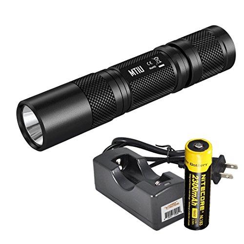 Nitecore MT1U Multi-Task 365nm Professional Ultraviolet Blacklight LED Flashlight with Nitecore 18650 battery and LumenTac charger