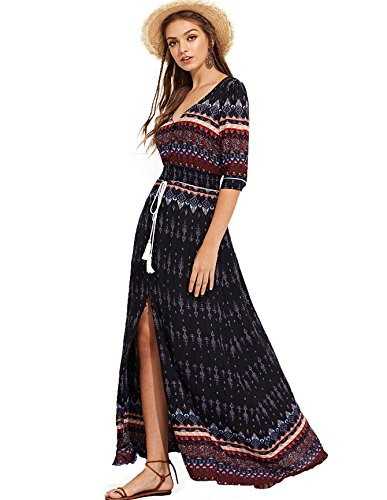 Milumia Women's Button Up Split Floral Print Flowy Party Maxi Dress Large Black-2