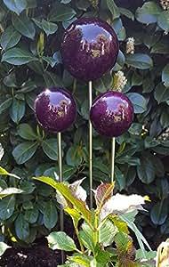 Rose bola 10cm varilla mármol púrpura Jardín Conector Bola decorativa Bola de decoración