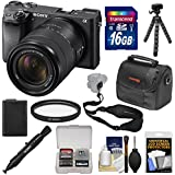 Sony Alpha A6300 4K Wi-Fi Digital Camera & 18-135mm Lens (Black) 16GB Card + Case + Tripod + Battery + Kit