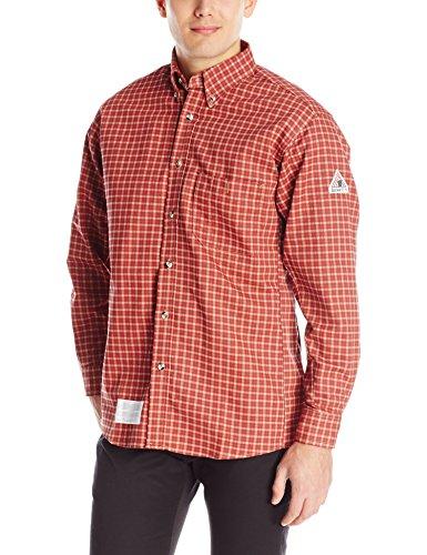 Bulwark Flame Resistant 6.5 oz Cotton/Nylon ComforTouch Plaid Dress Shirt, Red/Khaki Plaid, XLarge