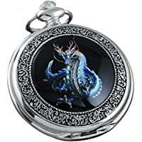 VIGOROSO Watches Steampunk Cool Evil Dragon Enamel Painting Pocket Watch in Gift Box