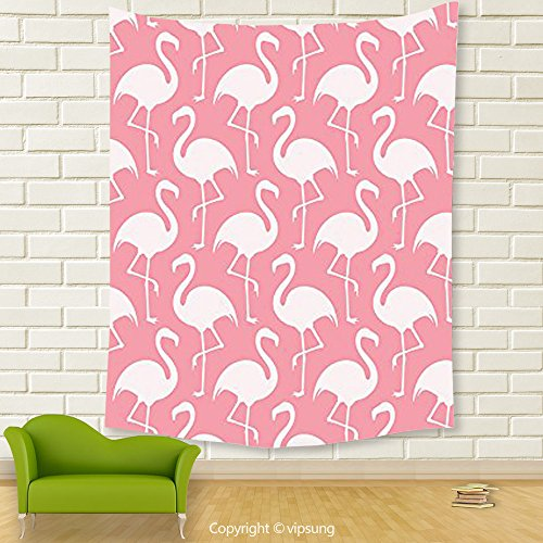Vipsung House Decor Tapestry_Flamingo Decor Collection Flamingo Shape Outline Big Birds Caribbean Decorative Artful Illustration Image Pink And White_Wall Hanging For Bedroom Living Room Dorm