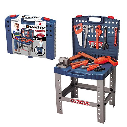 Smart Builder STEM Toy Tool Workbench - Includes 12 Realistic Hanging Tools & Electric Drill Construction Engineering Workshop Toolbench Set and Accessories, for Kids Boys and Girls