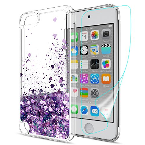 iPod Touch 6 Case,iPod Touch 5 Glitter Case With HD Screen Protector For girls,Slook [Heart Series]Liquid Glitter TPU Soft Shockproof Phone protective Cover for Apple iPod Touch 5 6th Gen LS Purple (Ipod 5 Water Case Design)