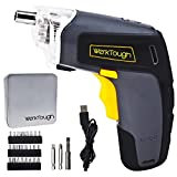 Werktough S008 3.6V Cordless Screwdriver Li-ion Battery USB Plug Household Rechargeable Drill/Diver With LED Light Metal Case