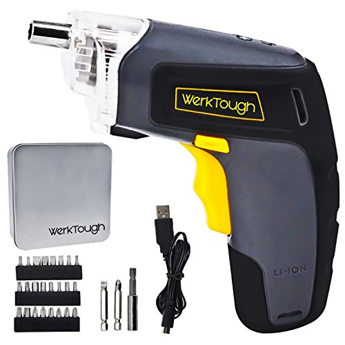 Werktough S008 3.6V Cordless Screwdriver Li-ion Battery USB Plug Household Rechargeable Drill/Diver With LED Light Metal Case by Werktough
