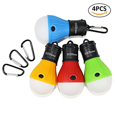 LED Camping Lantern [4 Pack] HZDone Portable Outdoor Tent Light Bulb for Camping Hiking Fishing Hurricane Storm Outage-Battery Powered Emergency Light [Red Blue Yellow Green Color Options]