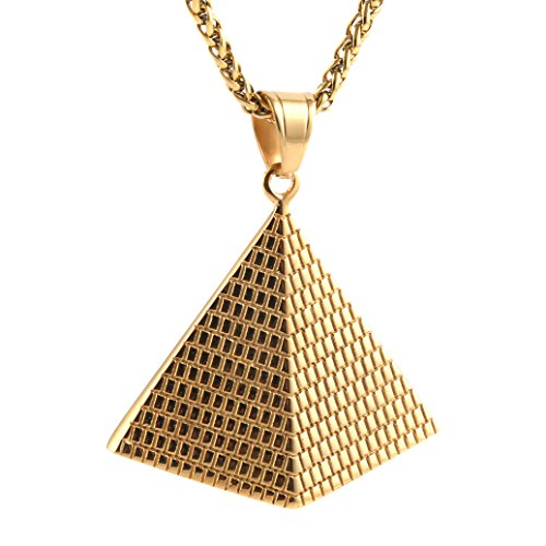 HZMAN Men Women African Style Jewelry Stainless Steel Pyramid Pendant Necklace
