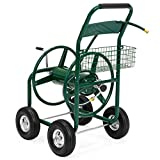 Best Choice Products Heavy Duty Outdoor Garden Steel 300-foot Water Hose Reel Cart w/Basket, Green