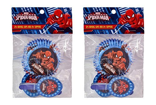 2-Pack Marvel Spider-Man 24 Cupcake Liners & 24 Toppers (48 Total) ()