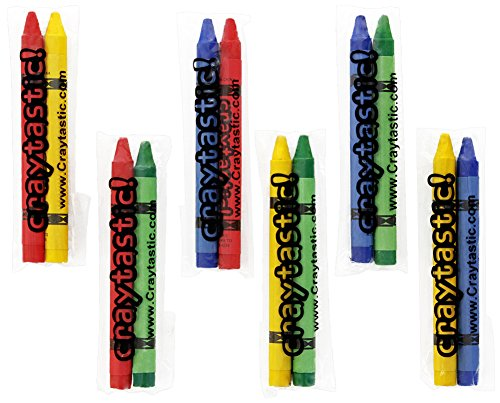 150 2-Packs of Premium Full-Size Crayons in cellophane wrapper (Assorted: Red, Green, Blue, Yellow) SAFETY TESTED COMPLIANT WITH ASTM D-4236 (300 Total Crayons)