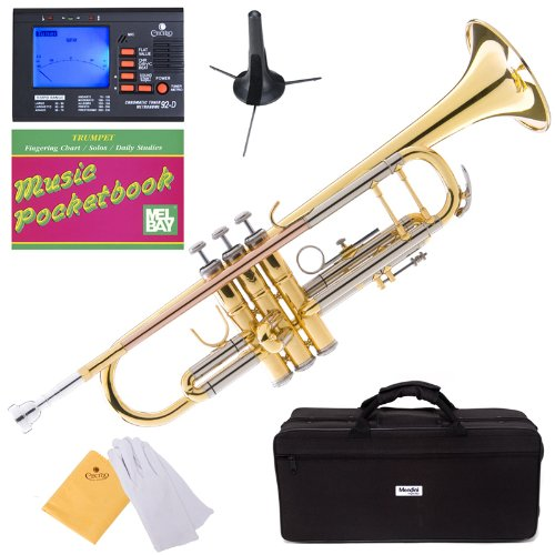 Mendini MTT-30GB Intermediate Double-Braced Bb Trumpet Cecilio Musical Instruments MTT-30GB+SD+PB+92D