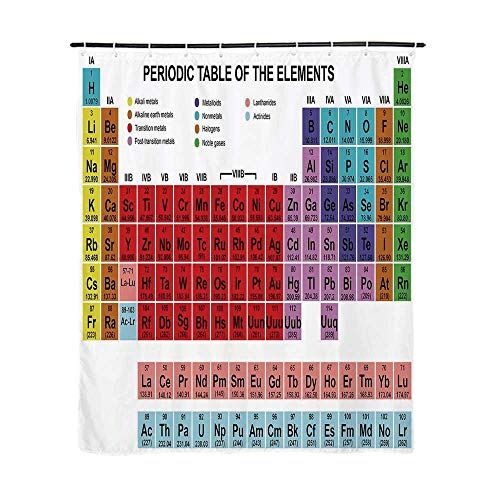 - Periodic Table Fashionable Shower Curtain,Kids Children Educational Science Chemistry for School Students Teachers Art for Bathroom,72''L x 48''W