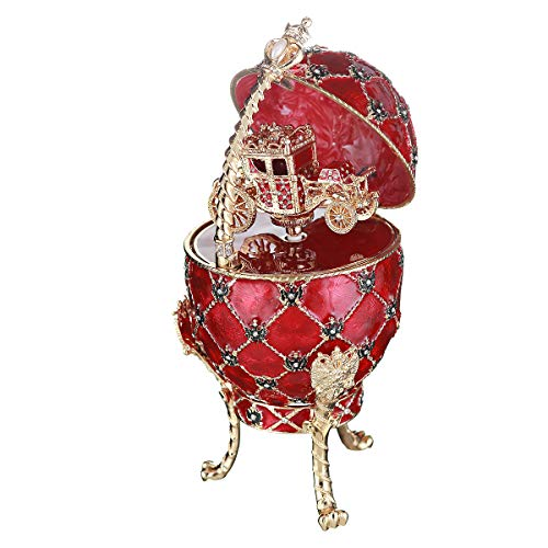 danila-souvenirs Russian Faberge Style Egg/Trinket Jewel Box/Music Box with Russian Coat of Arms & Carriage 7.1'' red