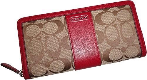 Coach Women's Park Signature Accordian Zip Around Wallet Khaki/Black Cherry