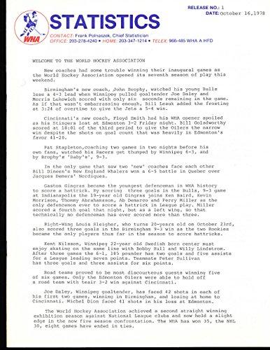 WHA Complete Media Press Release for 1978-79 - 28 press p...