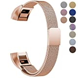 "Oitom Fitbit Alta HR Accessory Bands and Fitbit alta Replacement Band, (2 Size) Large 6.7""-9.3"" Small 5.1""-6.7"" (8 Color) Silver Black Rose Gold Pink Blue Brown Rainbow (Small 5.1""-6.7"" Rose Gold)"