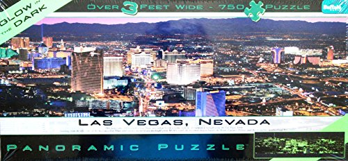 Las Vegas Panoramic Puzzle (PANORAMIC PUZZLE Las Vegas, NEVADA GLOW IN THE DARK 750 Piece Over 3 Feet Wide Puzzle MADE IN USA)