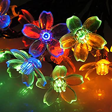 DALMI Solar Powered String Lights: Multi-colored Flower Strand Lighting for Indoor Outdoor Entertaining and Decorating, 4.8M (15.4 ft) with 20 LED Blossoms, with Solar Efficiency that Lasts 8-12 Hours