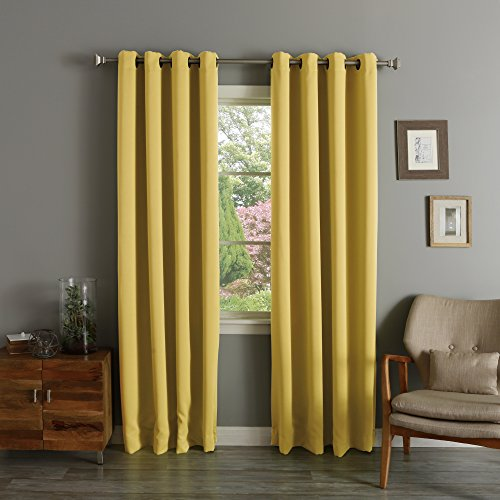 Best Home Fashion Premium Thermal Insulated Blackout Curtains - Antique Bronze Grommet Top - Mustard - 52