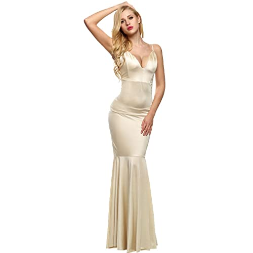 ANGVNS Women Elegant Sexy Backless Deep V Neck Spaghetti Strap Maxi Dress Evening Gown 2017