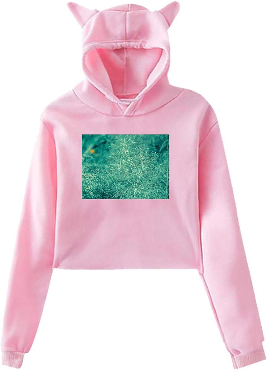 Personality Leaf Girl Cat Ears Umbilical Hoodie,Leaf Fashion Sweatshirt Sweater