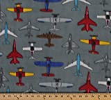 Multicolored Airplanes Flying Gray Grey Fleece Fabric Print by the Yard o6airplaness