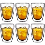 BODUM PILATUS Glass Set (Double-Walled, Isolated, Dishwasher Safe, 0.25 L/8 oz) - Pack of 6, Transparent