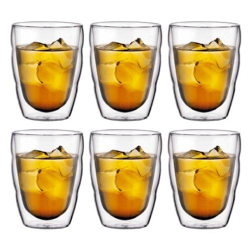 Bodum PILATUS Glass Set (Double-Walled, Isolated, Dishwasher Safe, 0.25 L/8 oz) - Pack of 6, Transparent 10484-10-12